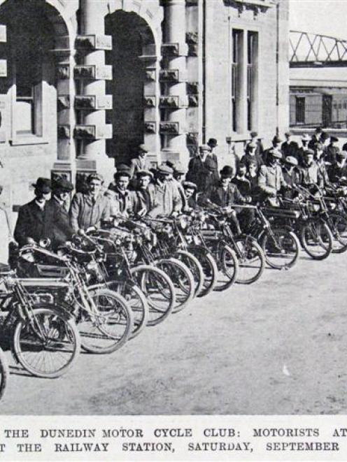 Participants in the opening run of the Dunedin Motor Cycle Club at the Dunedin Railway Station on...