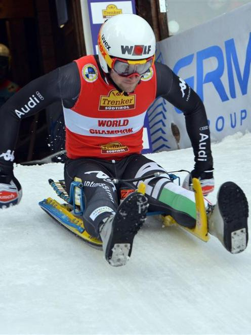 Patrick Pigneter, of Italy, in the Natural Track Luge World Cup. Photo by Fil/Sobe.