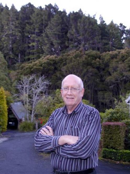 Paul Bennett at the plantation at Frasers Gully, which will be felled next year. Photo by Jane...