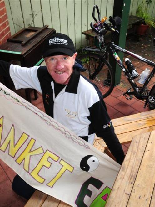 Paul Mack stops off in Dunedin during his Blanket Earth project cycling around the world. File...