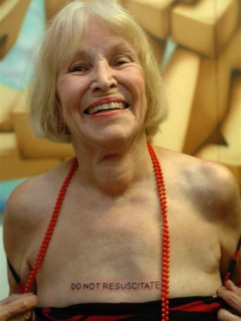 Paula Westoby reveals her DO NOT RESUSCITATE tattoo yesterday. Photo by Peter McIntosh.