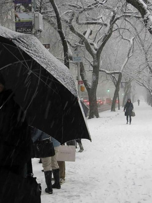 People wait for a bus at Central Park on 5th Avenue as it snows in the Manhattan borough of New...