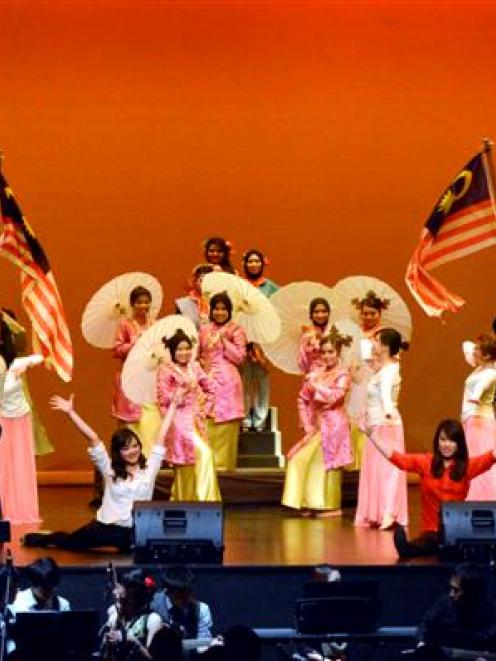 Performers in Hati Malaya, a musical produced by the Otago Malaysian Students' Association, fill...