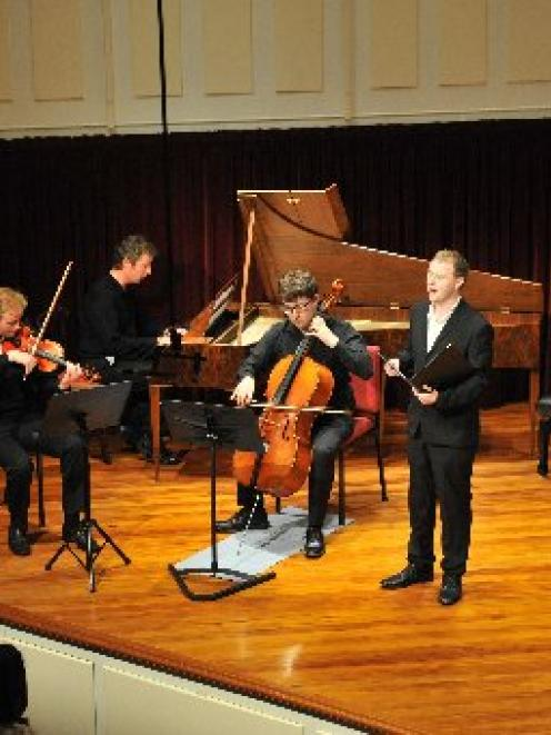 Performing Robert Burns' Ae Fond Kiss at the University of Otago last night are (from left) Tim...