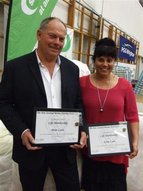 Peter and Elsie Lyon were honoured with life membership to the New Zealand Merino Shearing...