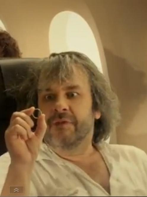 Peter Jackson appears in Air New Zealand's Hobbit-themed video. Photo YouTube