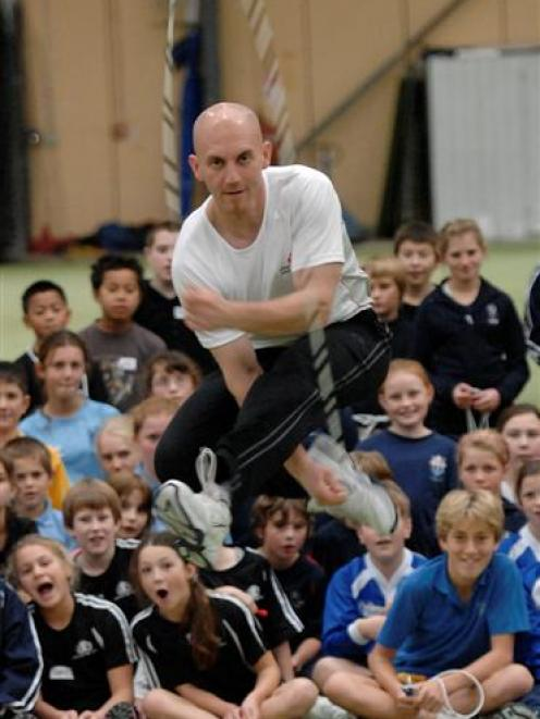 Peter Nestler gets some air during a skipping demonstration in the Edgar Centre yesterday. Photo...