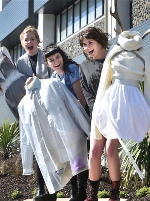 Otago Polytechnic third-year fashion design students (from left) Kimberly Ramsey, Beth Wogan and...