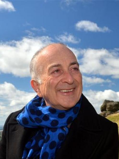 Sir Tony Robinson enjoyed fine weather for his visit to the war memorial on Otago Peninsula....