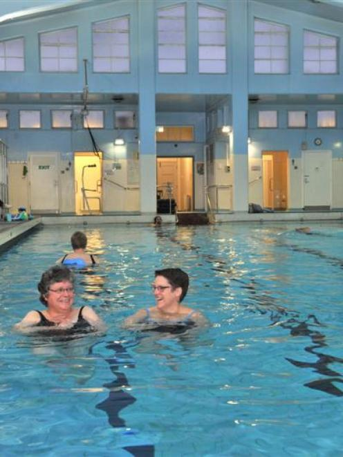 Physio pool users Barbara Bucke (left) and Angela Melrose aqua-jogging in the physio pool this...