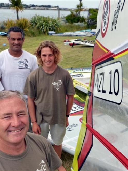 Pictured at the New Zealand slalom windsurfing championships on the Otago Harbour yesterday were ...
