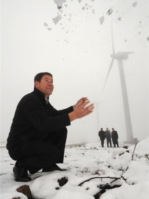 Pioneer Generation chief executive Fraser Jonker celebrates the opening of the Mt Stuart wind...