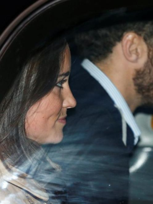Pippa Middleton and her brother James leave after visiting their sister Catherine, Duchess of...