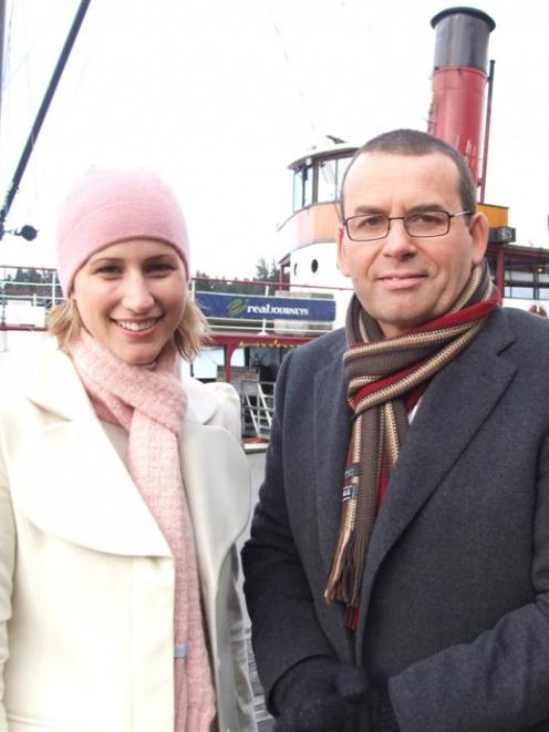 Pippa Wetzell and Paul Henry pictured in Queenstown during their time on Breakfast. Photo by...