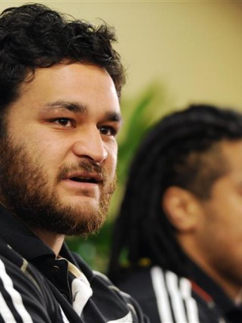 Piri Weepu answers a question during a press conference in Auckland today.  (AP Photo/Ross Land)