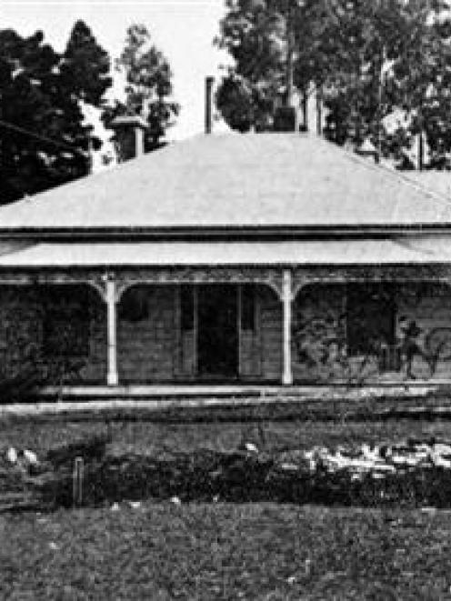 Pleasant Valley Sanatorium, Palmerston South, Otago, showing the administrative quarters. It has...