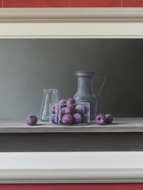 Plums in a Glass Bowl, by Neil Driver.