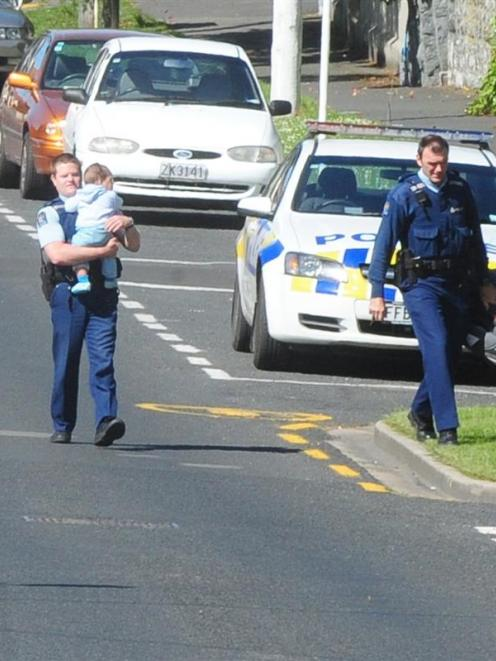 Police attend the scene of a domestic incident.  Photo from ODT files.
