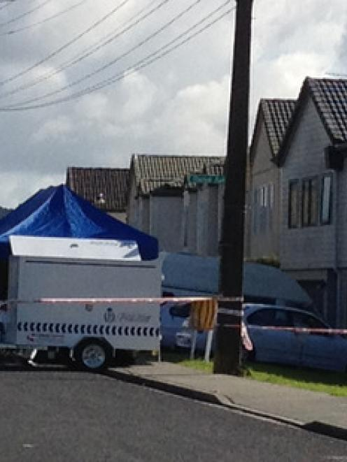 Police attend to the scene at a house in Pooks Rd Ranui. Photo / Brett Phibbs