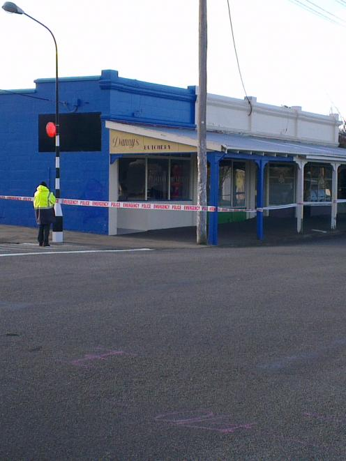 Police investigate sudden death at this block of Oamaru shops on the corner of Arun and Hull Sts....
