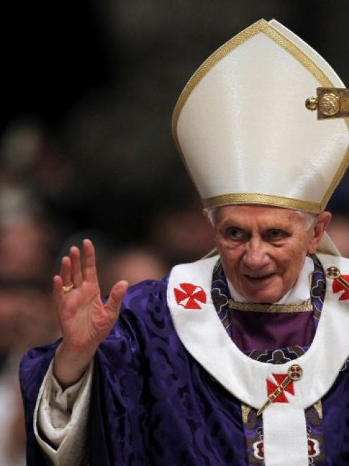 Pope Benedict XVI attends Ash Wednesday Mass, his last public Mass, at the Vatican. REUTERS/...