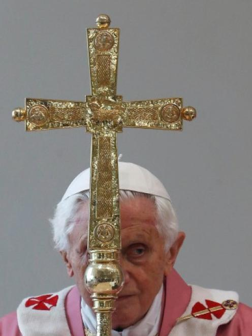 Pope Benedict XVI makes his pastoral visit to St. Patrick Church on the outskirts of Rome at the...