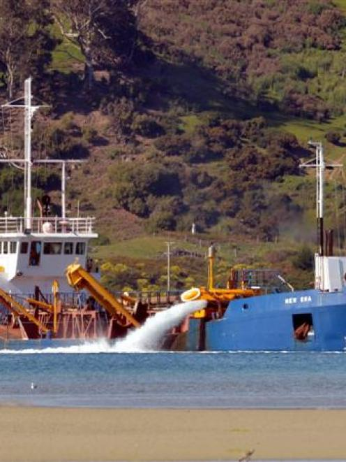 Port Otago's dredge New Era working off Harwood earlier this week. Photo by Stephen Jaquiery.