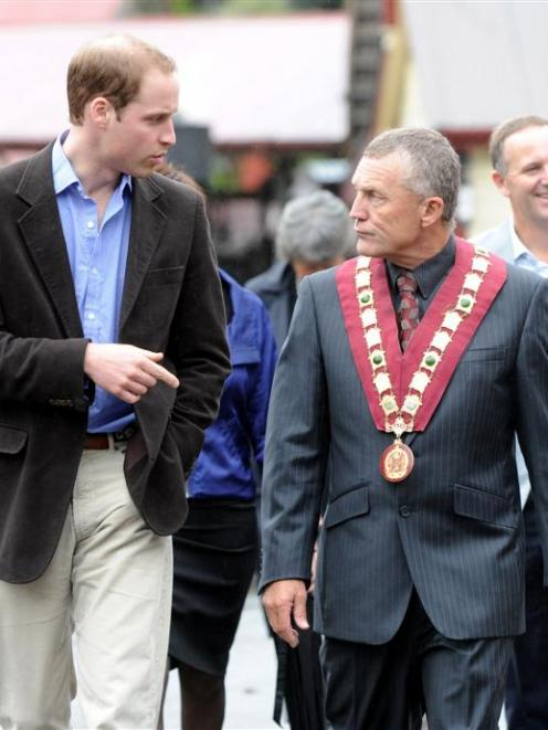 Price William, left with the Grey District Mayor Tony Kokshoorn on his arrival at Shanty Town to...