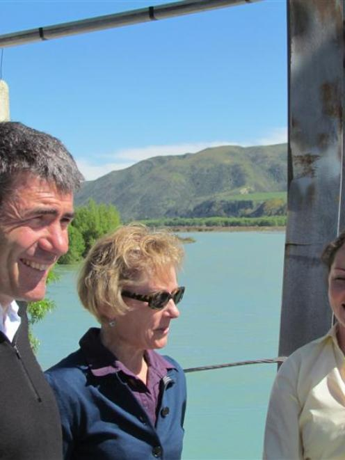 Primary Industries Minister Nathan Guy, left, discusses irrigation with North Otago Irrigation...