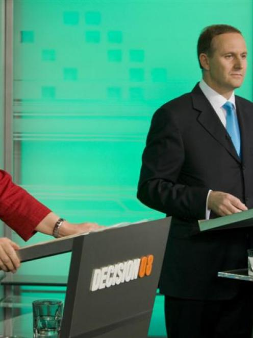 Prime Minister Helen Clark (Labour) and National Party leader John Key appear on Decision 08 -...