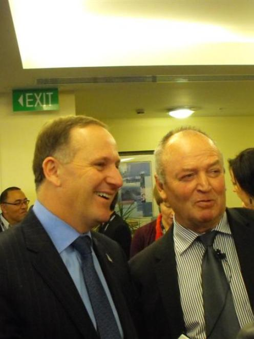 Prime Minister John Key (left) and former All Blacks  coach  Sir Graham Henry, who were keynote...