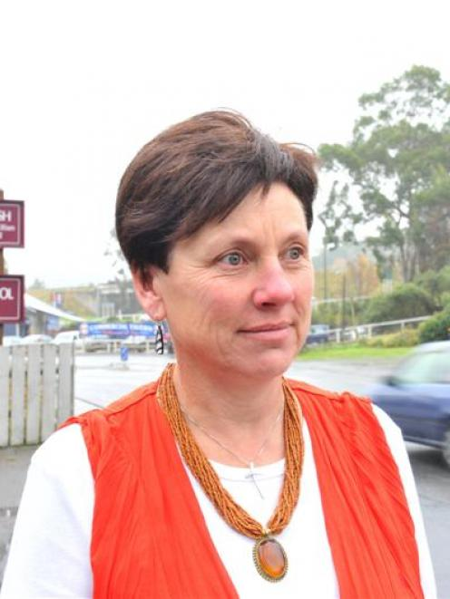 Principal Debbie Waldron outside St Peter Chanel School in Mosgiel on Friday after school.