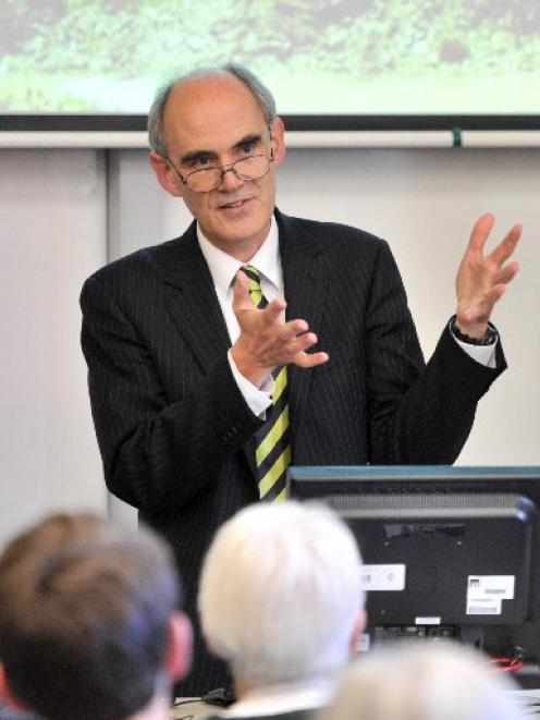 Prof Jonathan Boston, of Victoria University of Wellington, gives a talk in Dunedin yesterday....