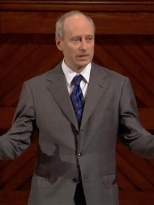 Prof Michael Sandel, of Harvard University, lectures to millions over YouTube and on TV. Photo by...
