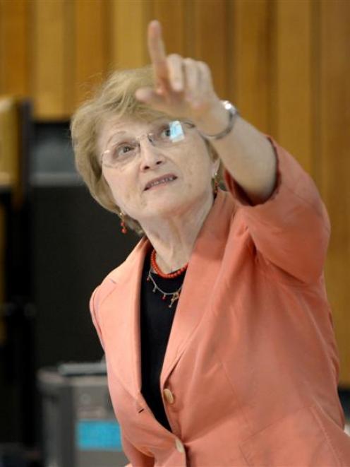 Prof Pauline Rosenau, of the University of Texas, speaking in Dunedin yesterday. Photo by Gerard...