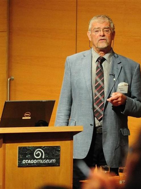 Prof Stephan Rossner addresses an obesity seminar in Dunedin. Photo by Craig Baxter.