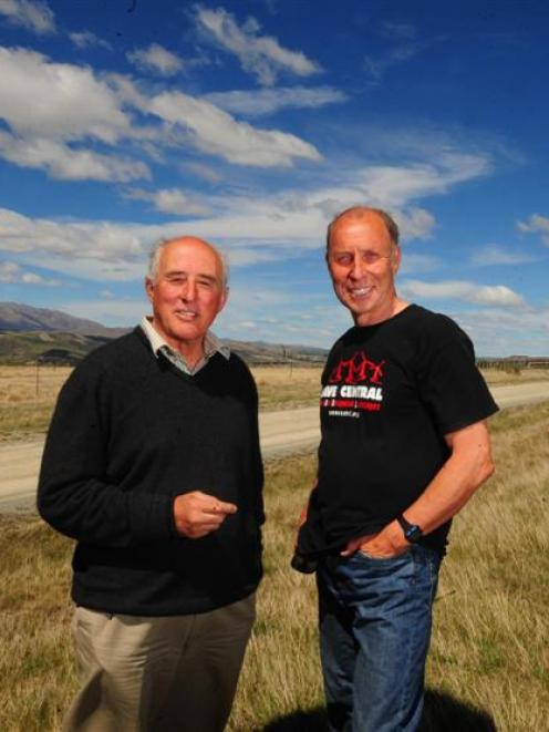 Project Hayes appellants Graye Shattky and Grahame Sydney celebrate at St Bathans yesterday the...