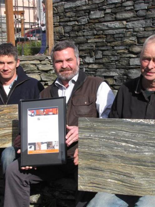 Promoting their products are (from left) Dave Grant, of Alexandra Stone, Queenstown Stone...