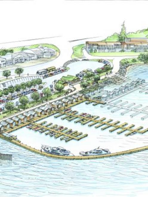 Proposed 200-berth Frankton marina. Drawing by Lakes Marina Projects Ltd.