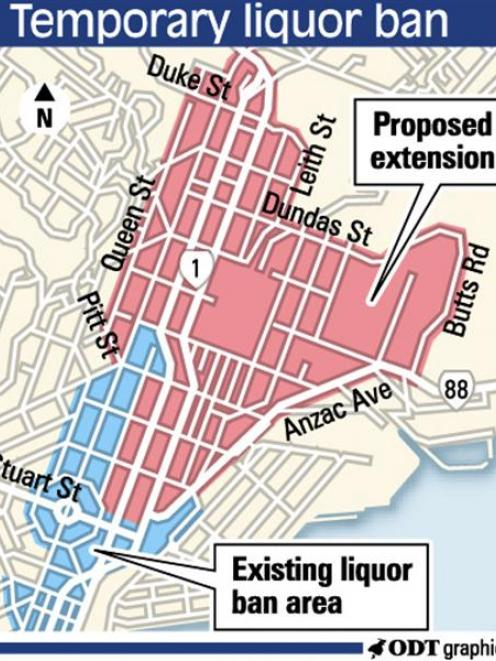 Proposed temporary extension to liquor ban area. ODT graphic.