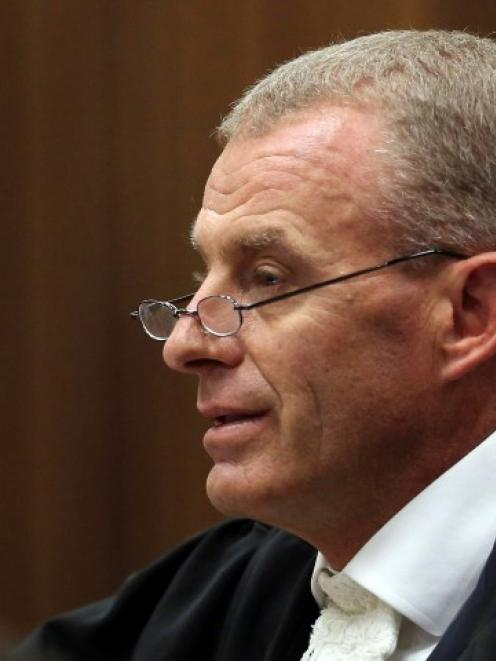 Prosecutor Gerrie Nel cross-examines Oscar Pistorius in the North Gauteng High Court in Pretoria....