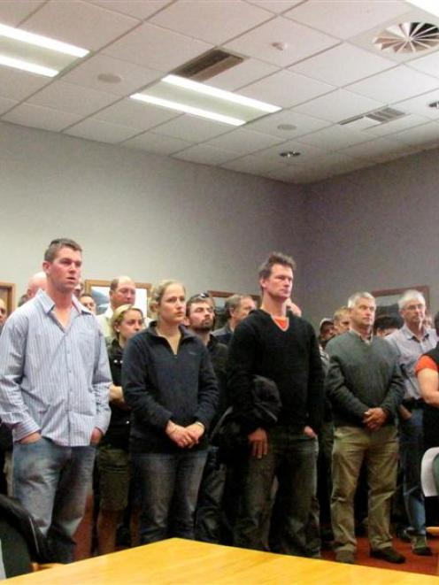 Protesting Farmers at Environment Southland yesterday had standing room only. A notice was placed...