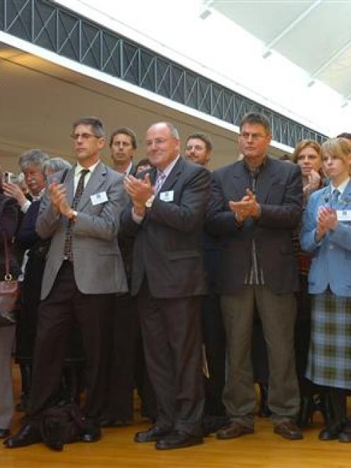 Pupils, parents and teachers at the 2008 Class Act function in the Dunedin Public Art Gallery....