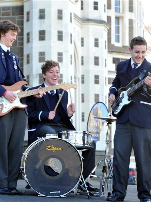 Puzzle Puppets members (from left) Connor Blackie, Nick Alexander and Callum Fisher wait to hear...