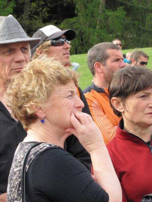 QLDC deputy mayor Lyal Cocks (with hat), Mayor Vanessa van Uden and CEO Debra Lawson (in red)...