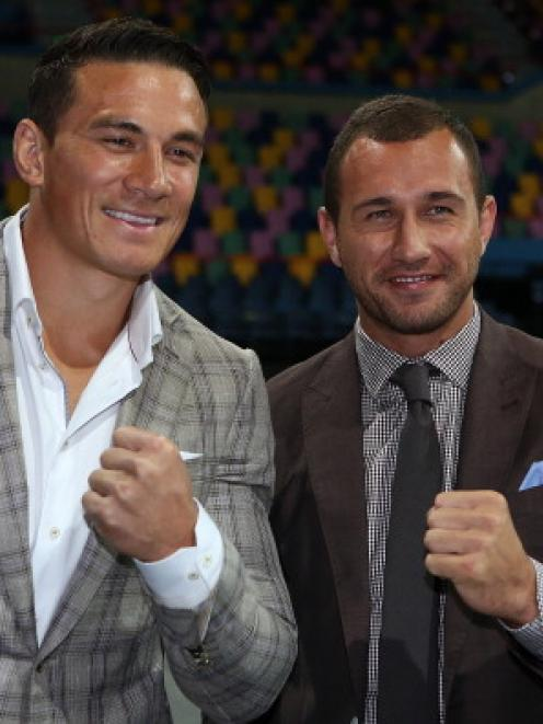 Quade Cooper and Sonny Bill Williams announce Cooper's boxing debut. (Photo by Chris Hyde/Getty...