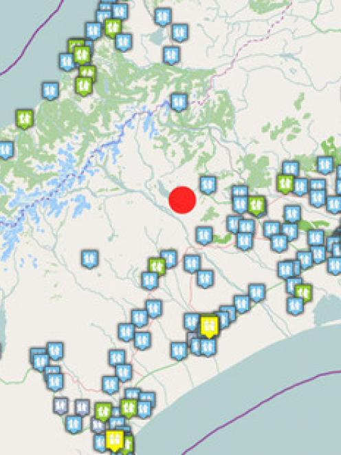 This GNS map shows the location of the 6.4 magnitude quake in red, with some of the first 'felt...