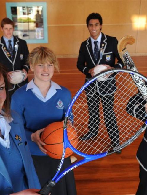 Queens and Kings pupils hoping to benefit from the Kiwisport initiative are, from left, Paige...