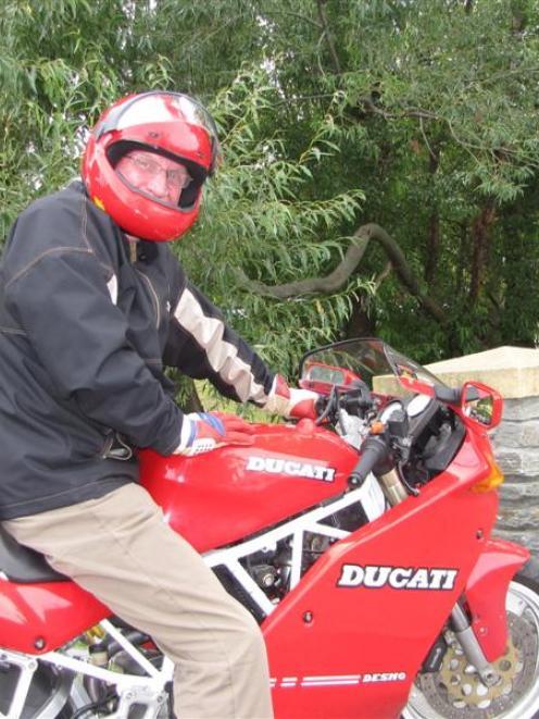 Queenstown Lakes Mayor Clive Geddes on his Ducati motorcycle in Queenstown yesterday. Mr Geddes...