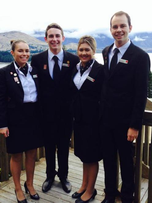 Queenstown Resort College second-year diploma in hospitality management students (from left)...